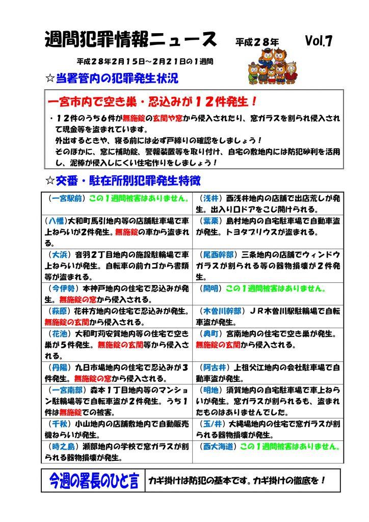 週間犯罪ニュースVol.7