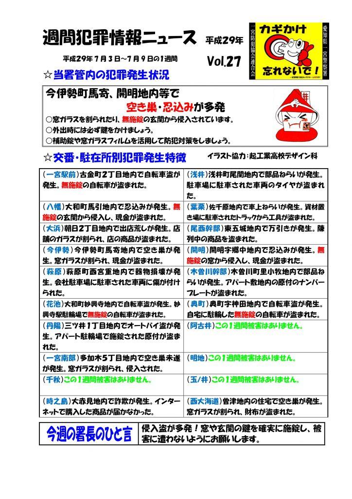 週間犯罪情報ニュース No27