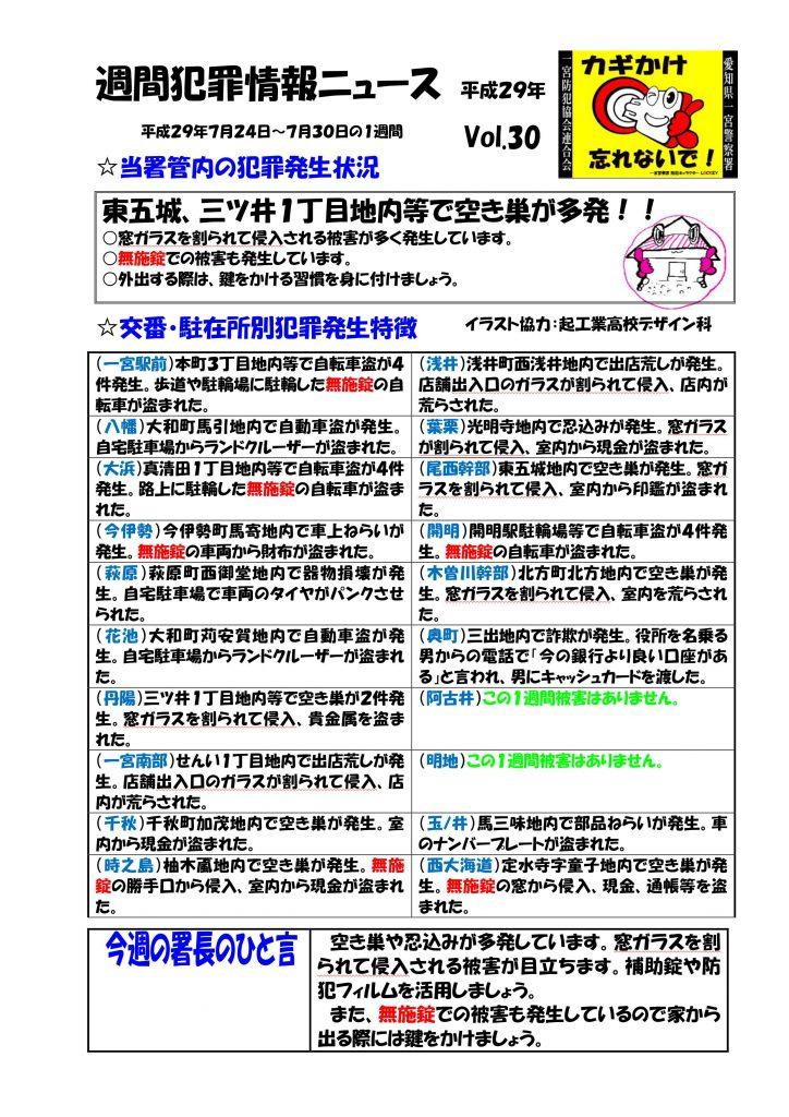 週間犯罪情報ニュース Vol.30