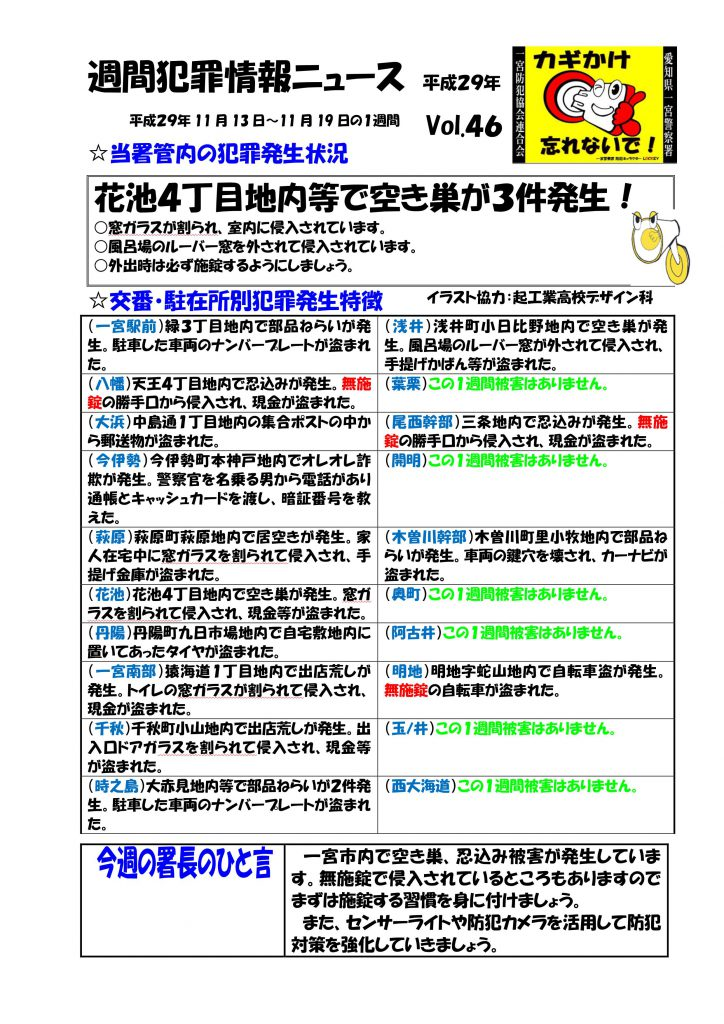 週間犯罪情報ニュース No.46