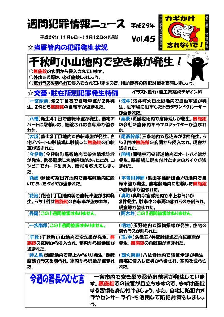 週間犯罪情報ニュース No.45