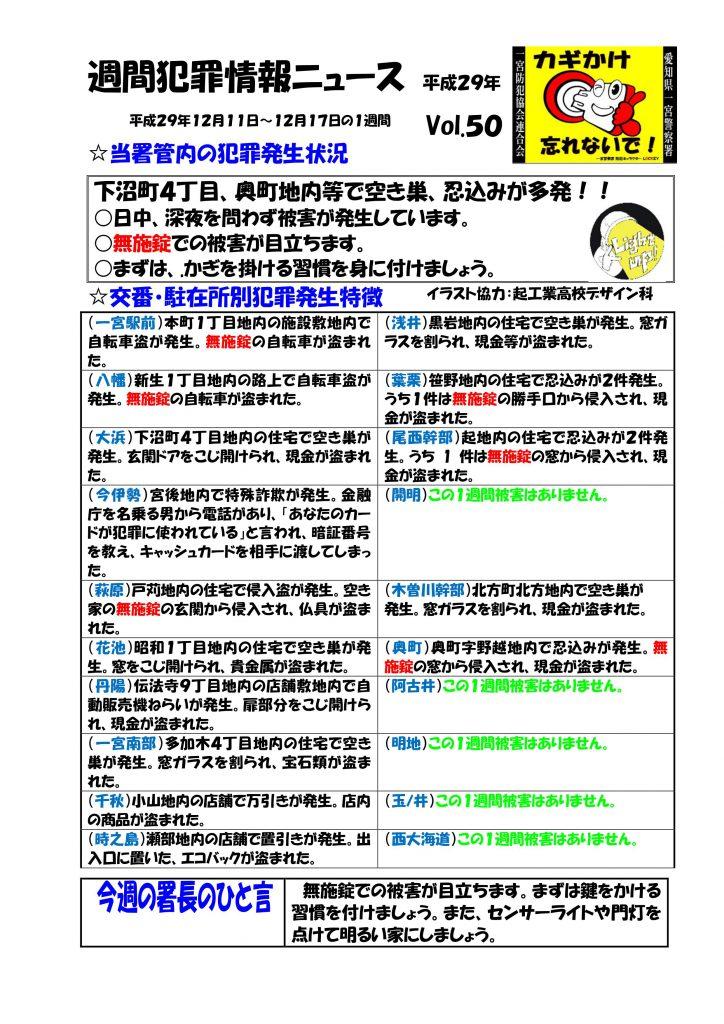 週間犯罪情報ニュース Vol.50