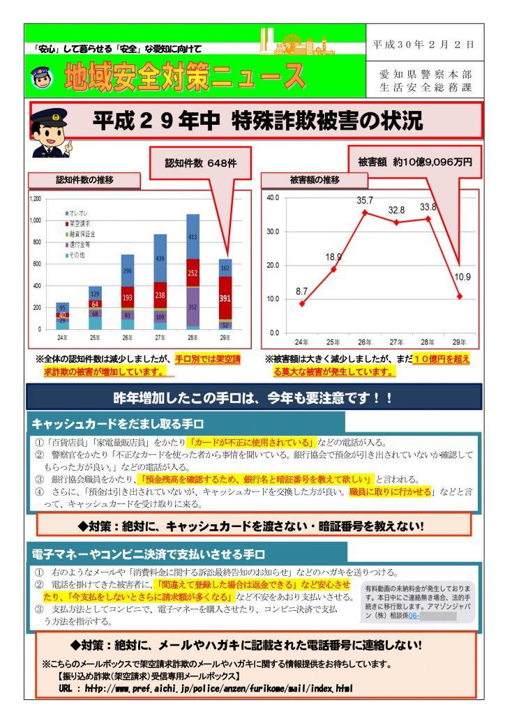 地域安全対策ニュース「 平成29年中 特殊詐欺被害の状況」