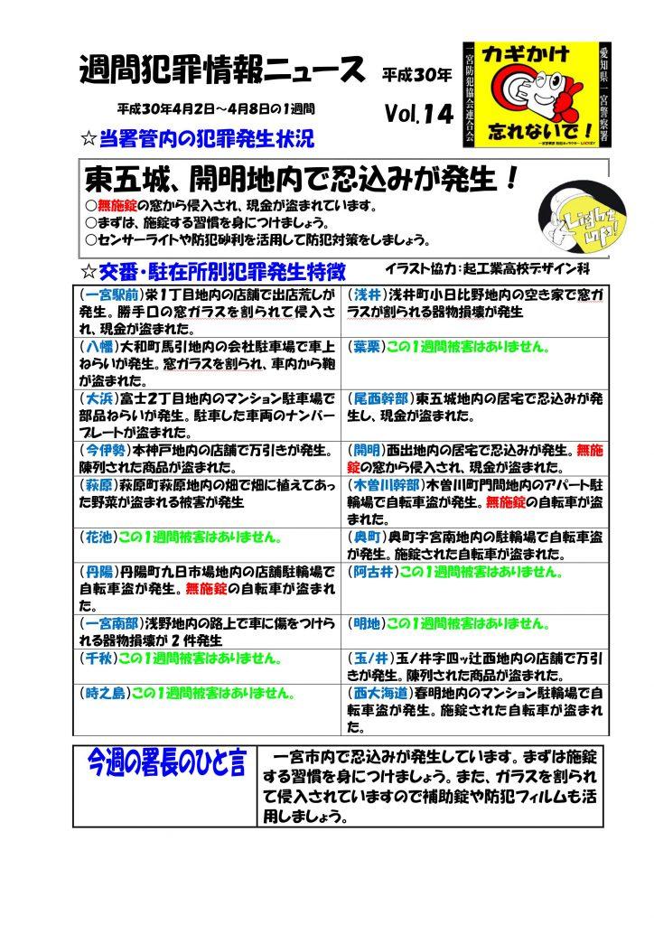 週間犯罪情報ニュース No14