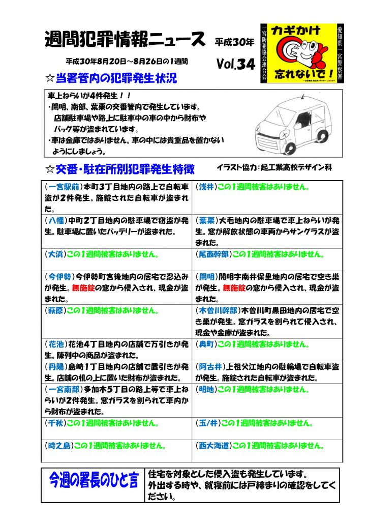 週間犯罪情報ニュース No.34