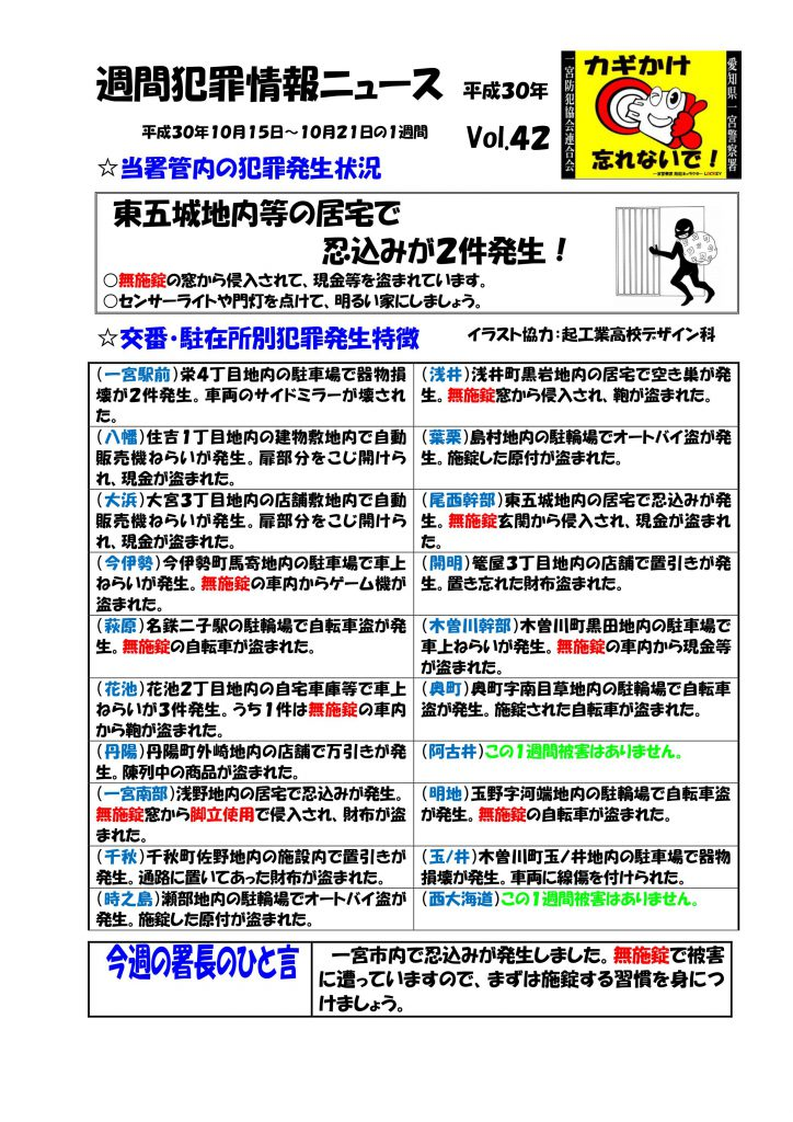 週間犯罪情報ニュース No,42